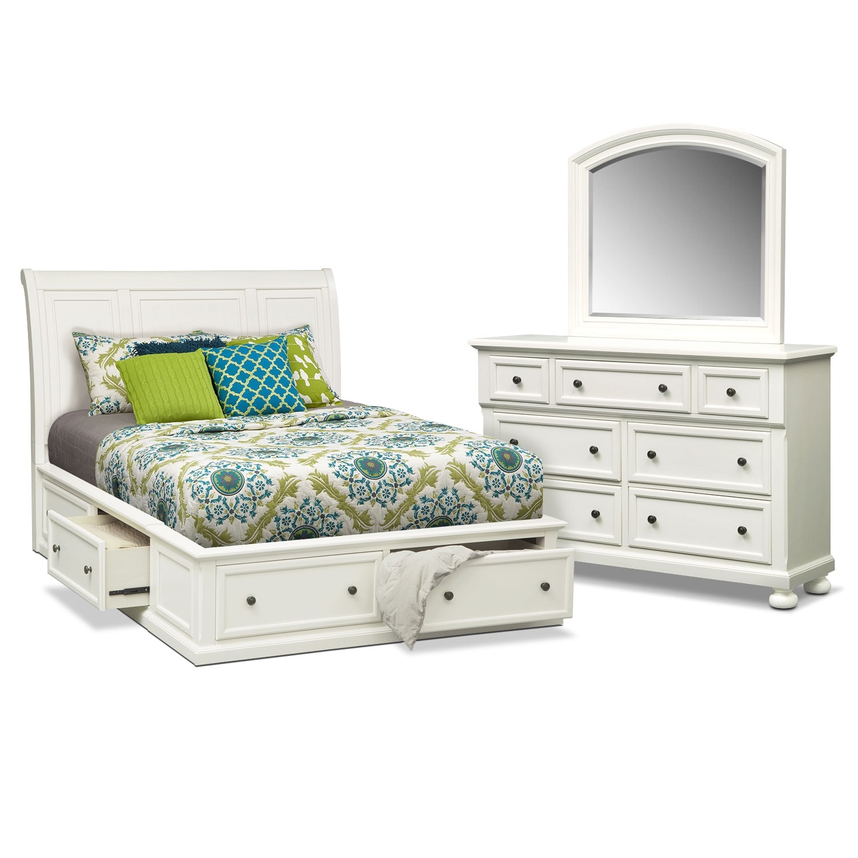 Bedroom Furniture - Hanover White 5 Pc. Queen Storage Bedroom Package