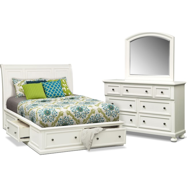 Bedroom Furniture - Hanover 5-Piece King Storage Bedroom Set - White