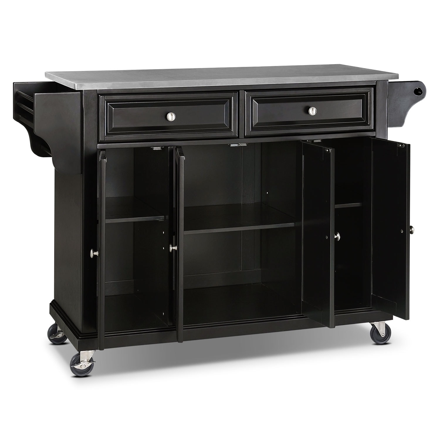 albany kitchen cart - black | value city furniture