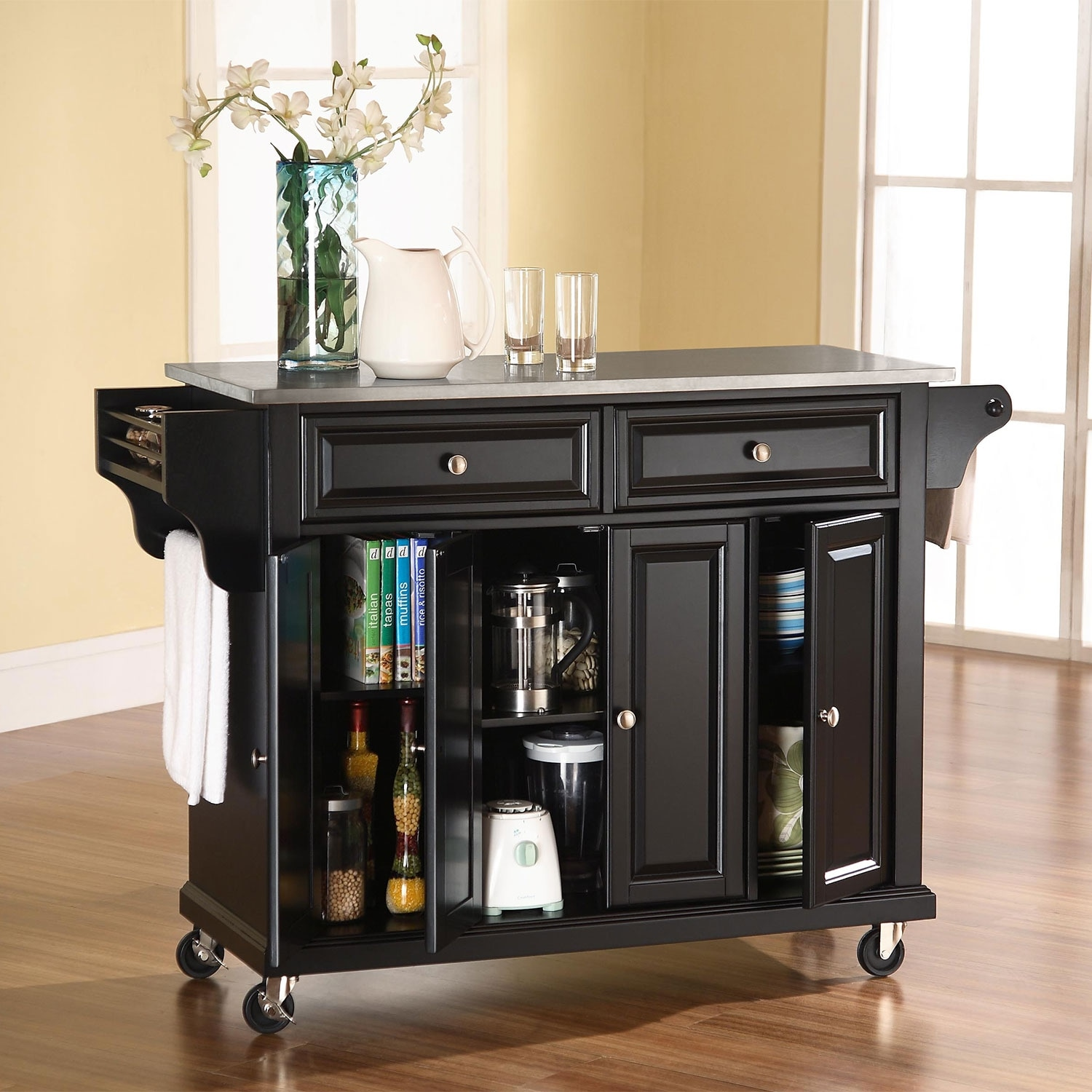 Albany Kitchen Cart - Black | Value City Furniture and Mattresses