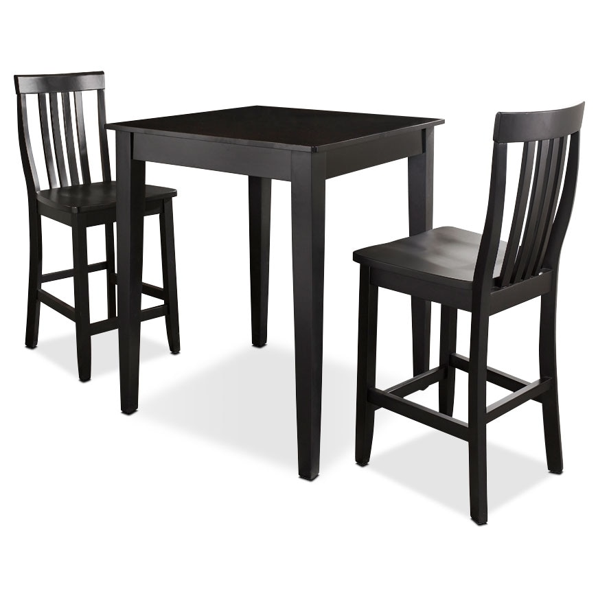 Monti Pub Table And 2 Chairs   Black