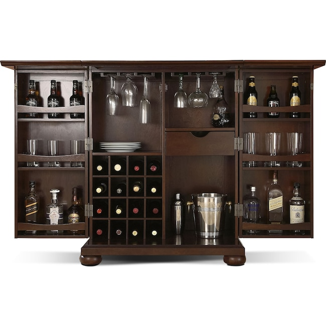 Renzo Bar Cabinet Mahogany Value City Furniture And Mattresses