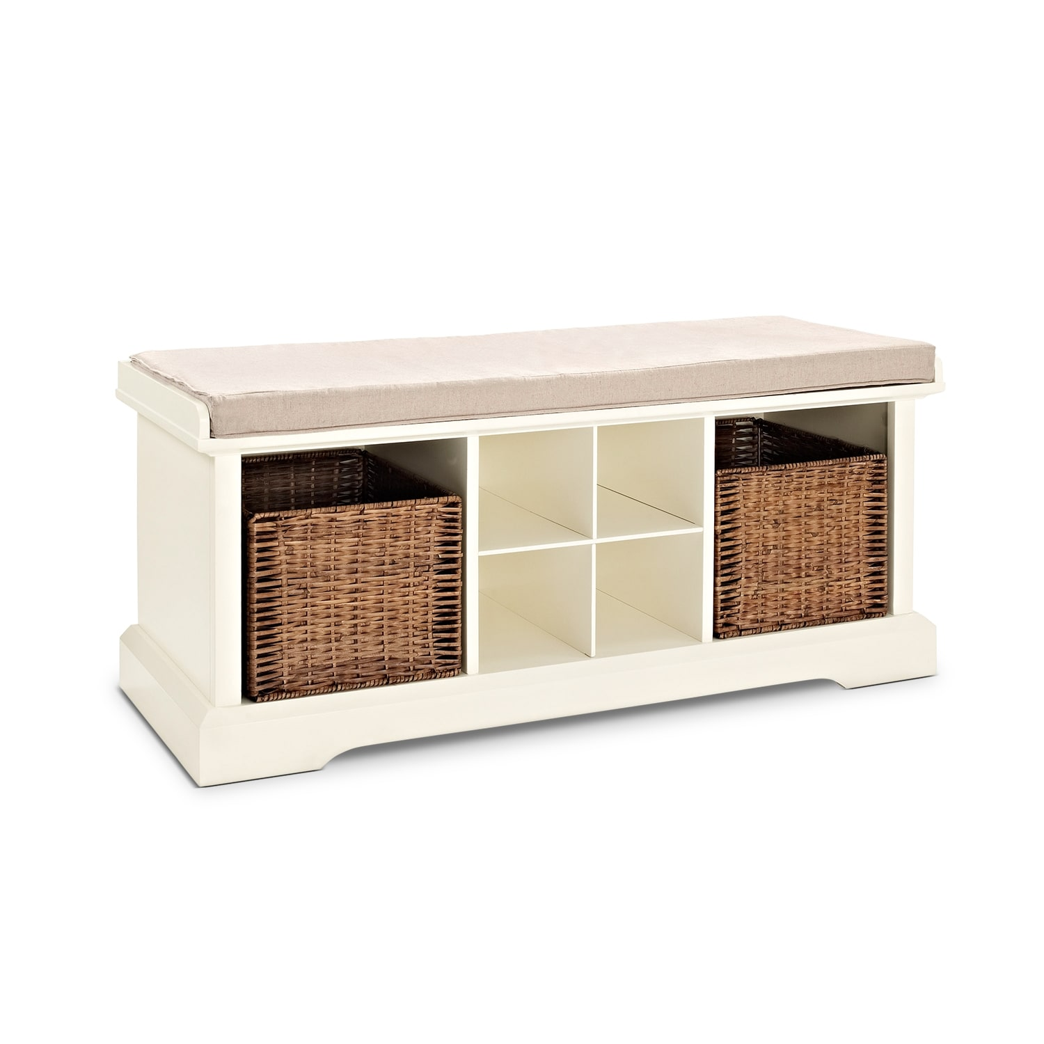 Levi White Entryway Storage Bench