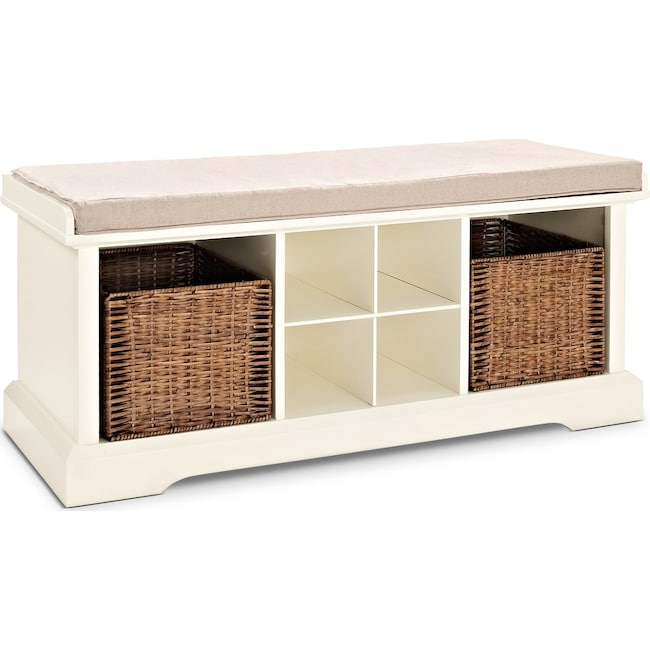 Accent and Occasional Furniture - Levi Entryway Storage Bench - White