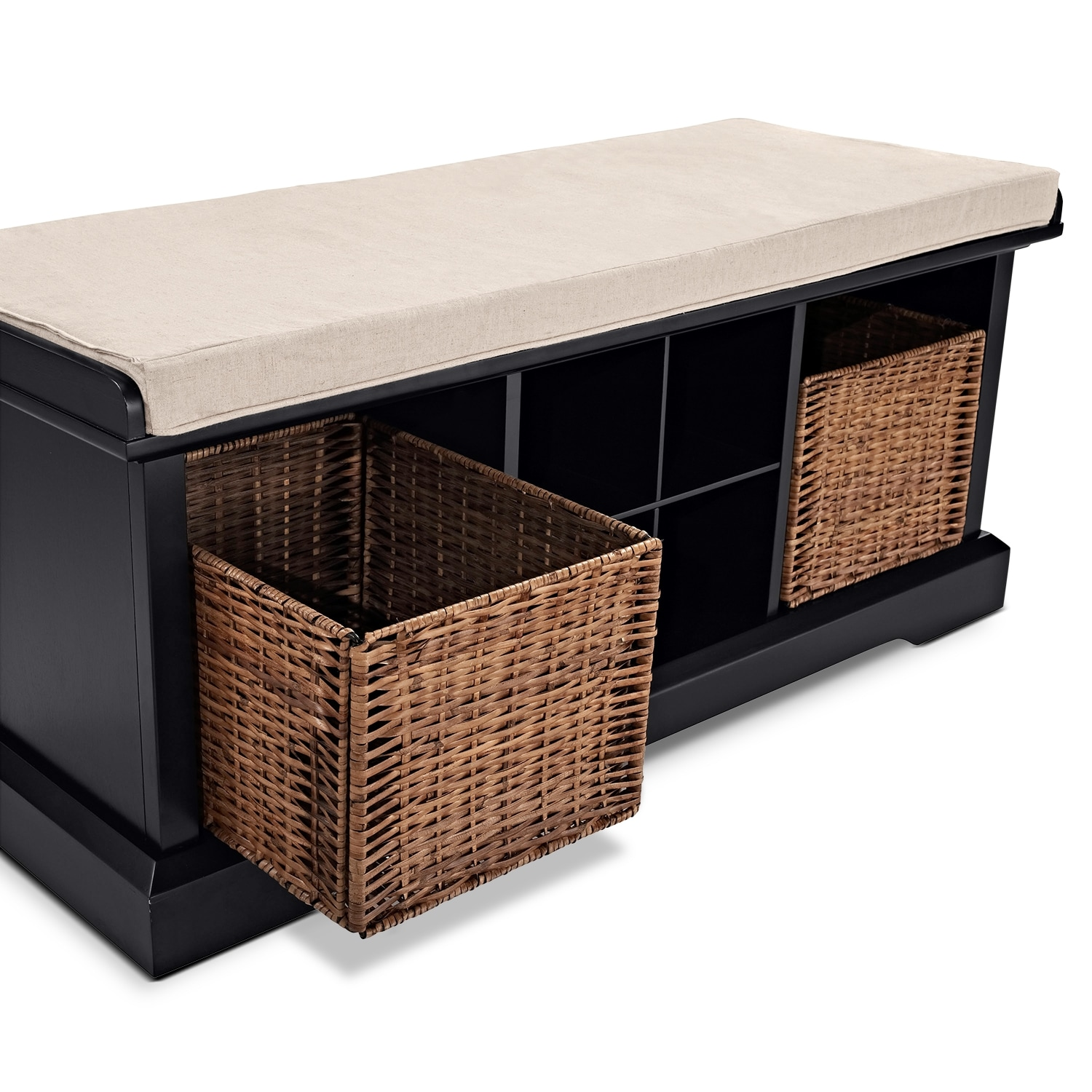 Levi black entryway storage bench value city furniture for Living room bench with storage