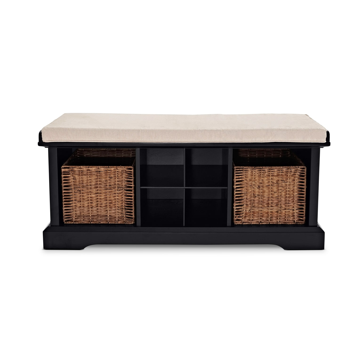 Levi Entryway Storage Bench Black Value City Furniture