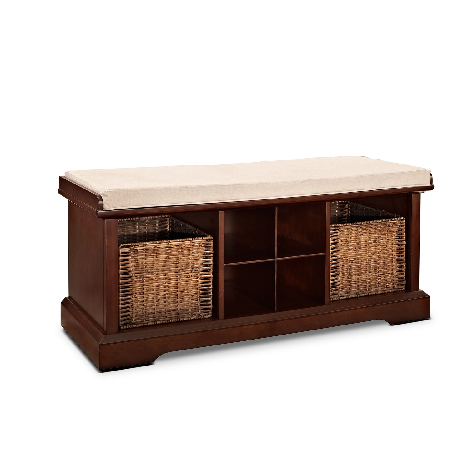 Levi Mahogany Entryway Storage Bench