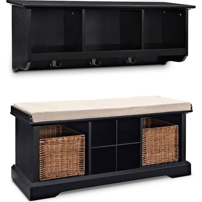 Accent and Occasional Furniture - Levi 2 Pc. Black Entryway System