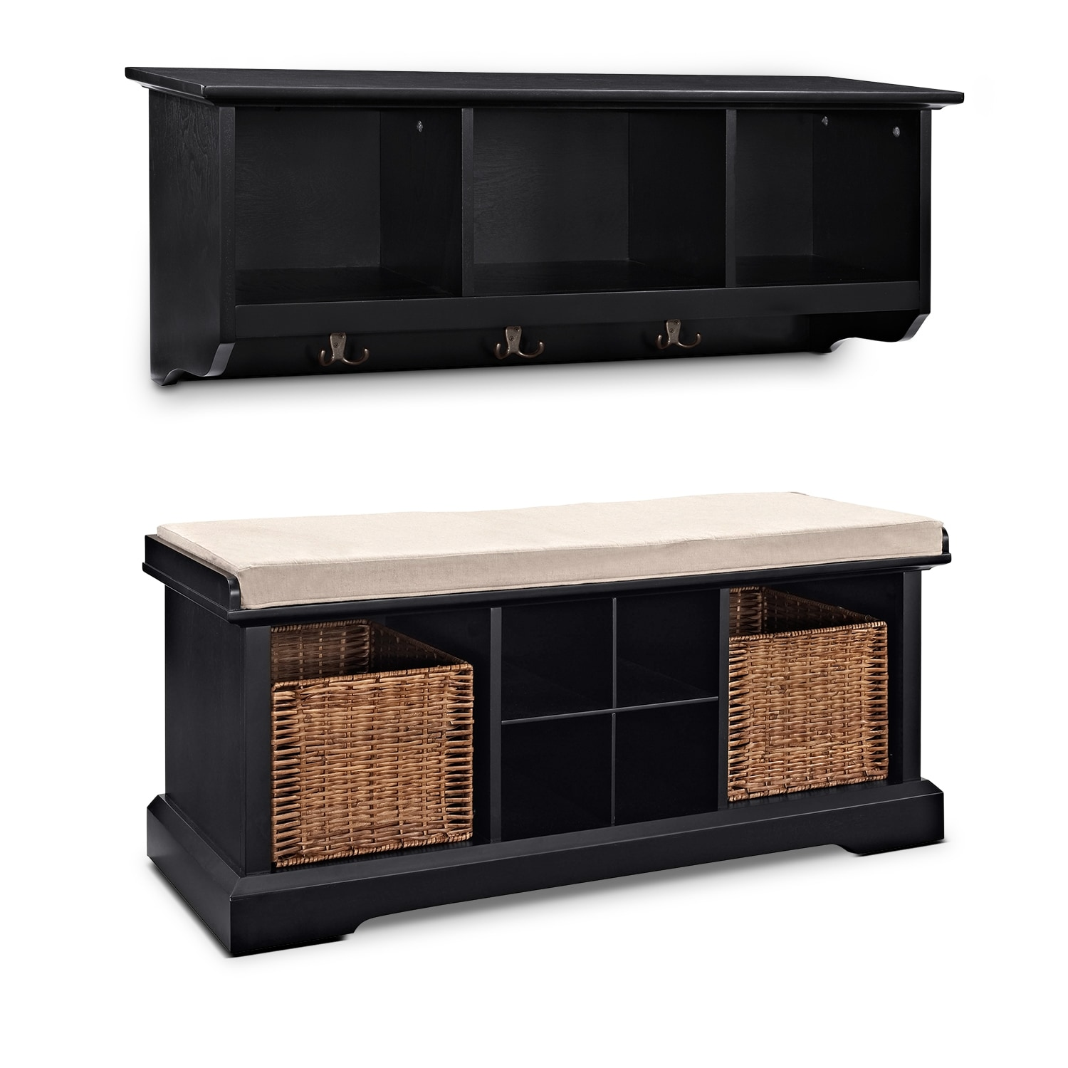 Awesome Levi 2 Piece Entryway System   Black