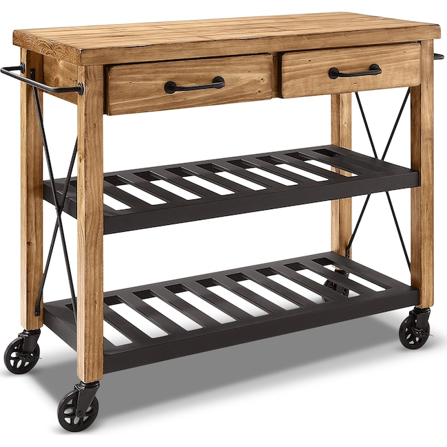 Fremont Kitchen Cart - Natural | Value City Furniture and Mattresses