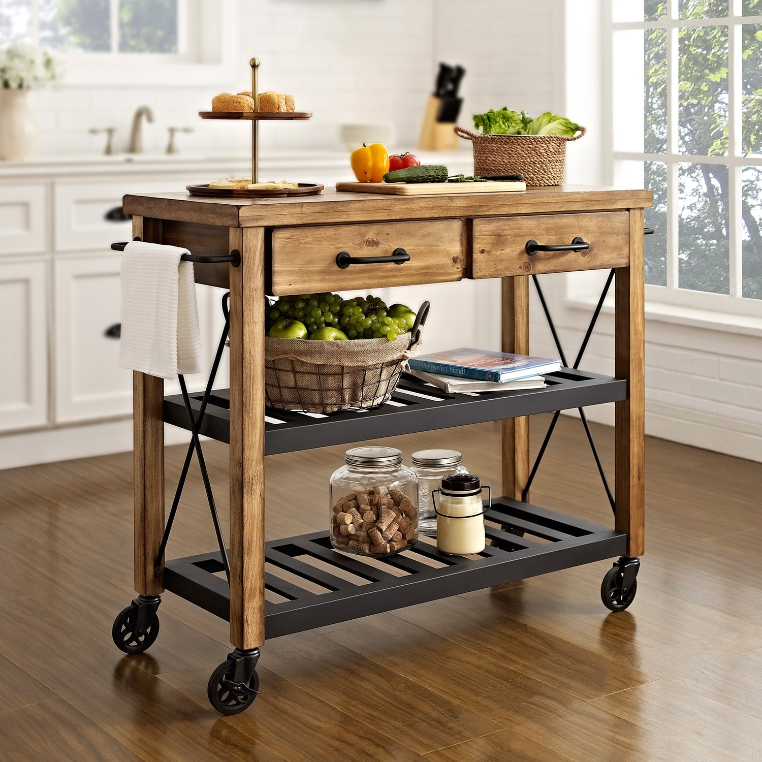 fremont kitchen cart - natural | value city furniture