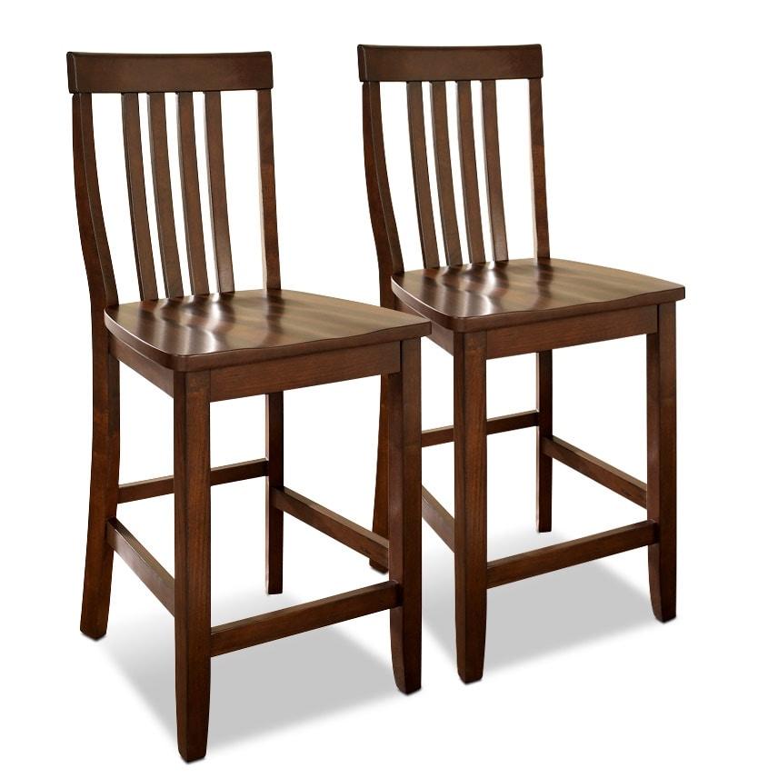 Dining Room Furniture - Melrose 2-Pack Barstools - Mahogany