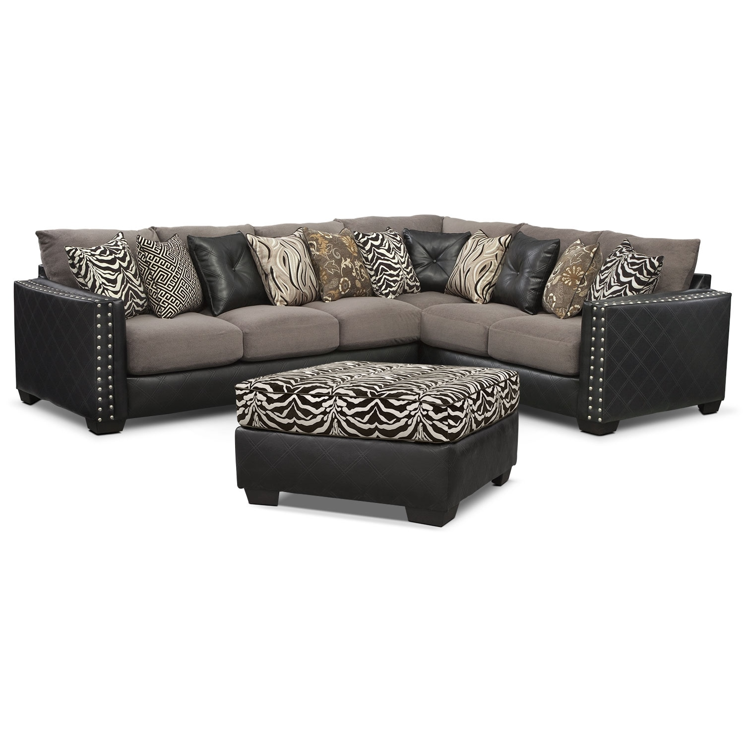 [Lola 2 Pc. Innerspring Sleeper Sectional w/ Cocktail Ottoman]
