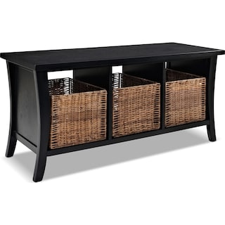 Mae Entryway Storage Bench - Black