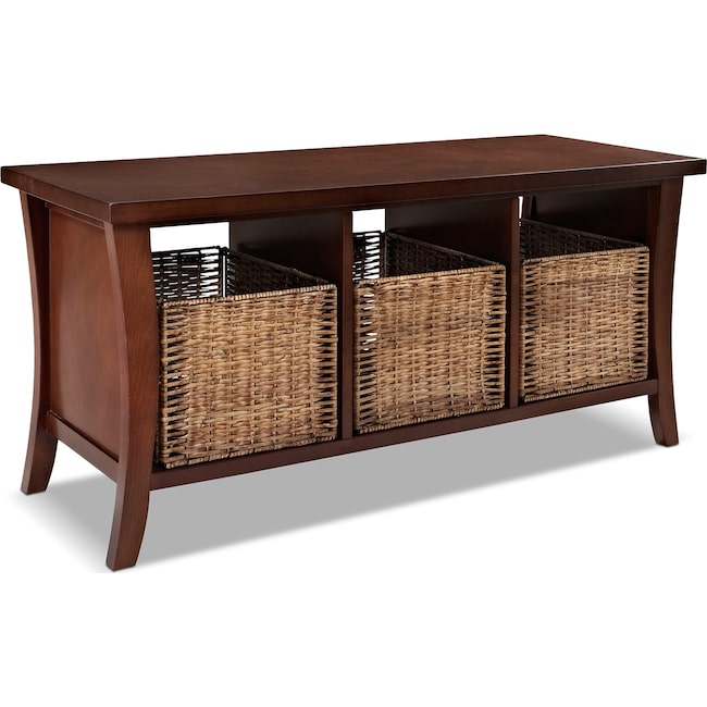 Accent and Occasional Furniture - Mae Entryway Storage Bench - Mahogany