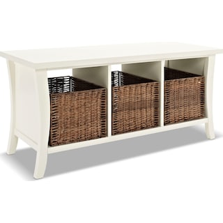 Mae Entryway Storage Bench - White