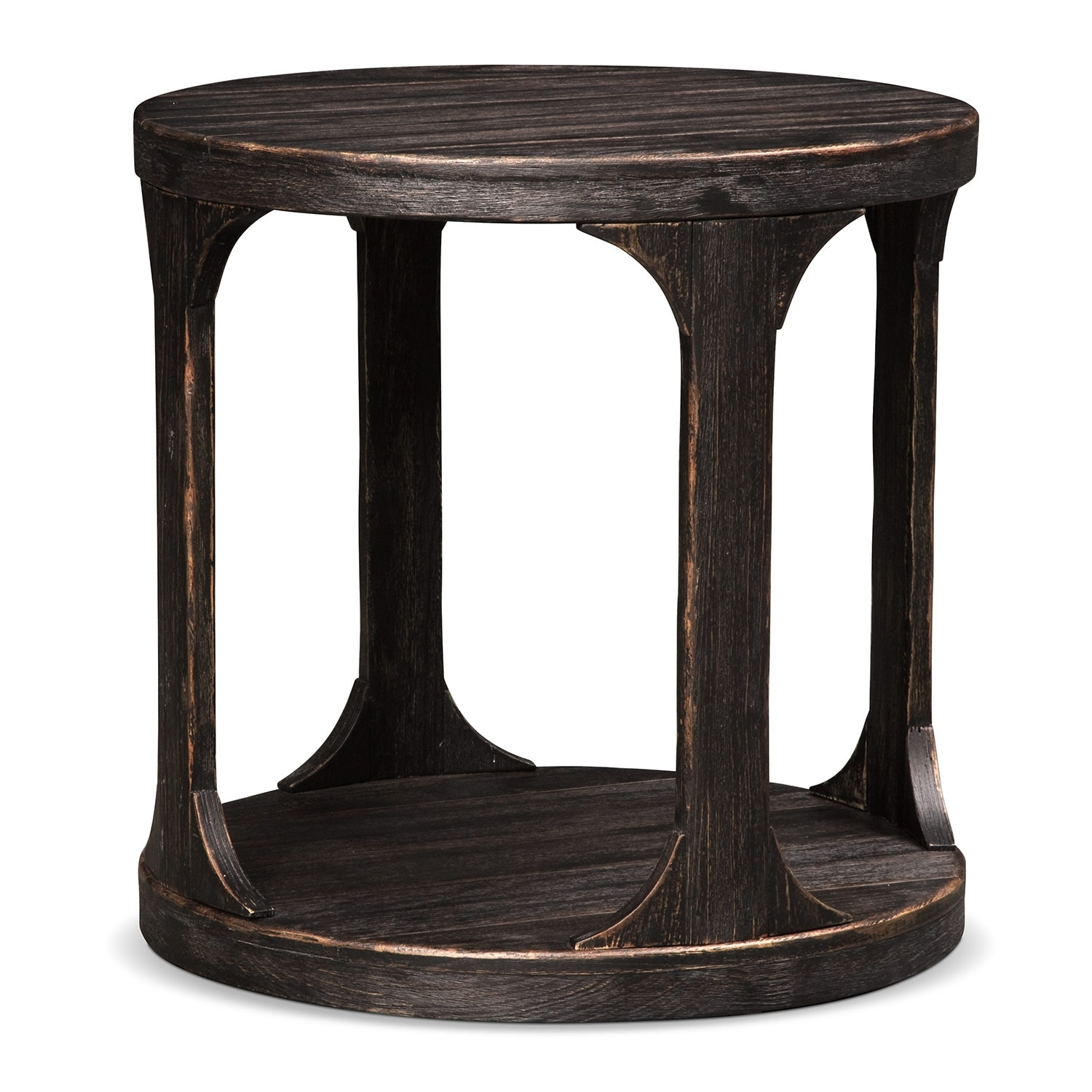 Accent And Occasional Furniture   Prentice Round End Table   Weathered Black