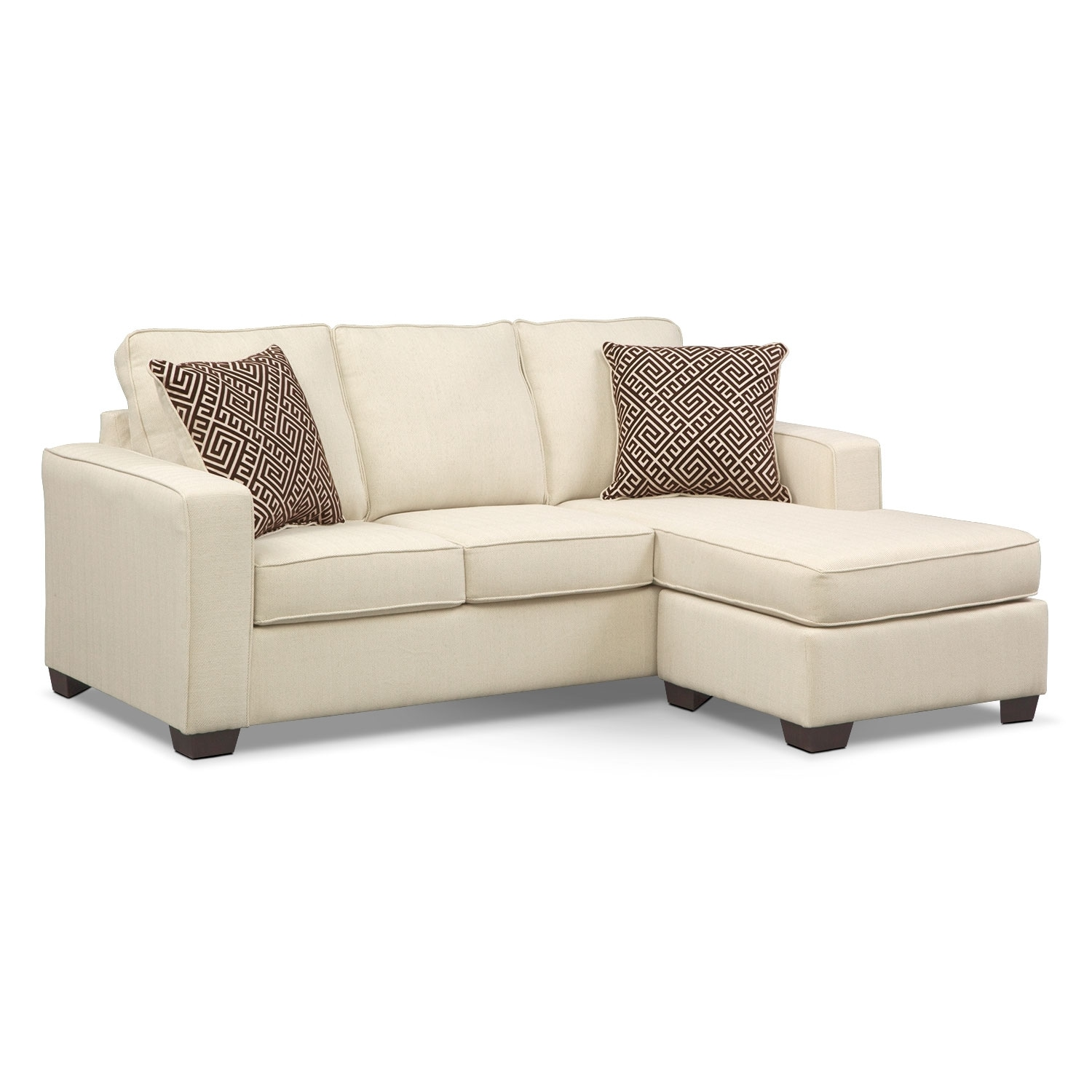 Living Room Furniture - Sterling Memory Foam Sleeper Sofa with Chaise - Beige
