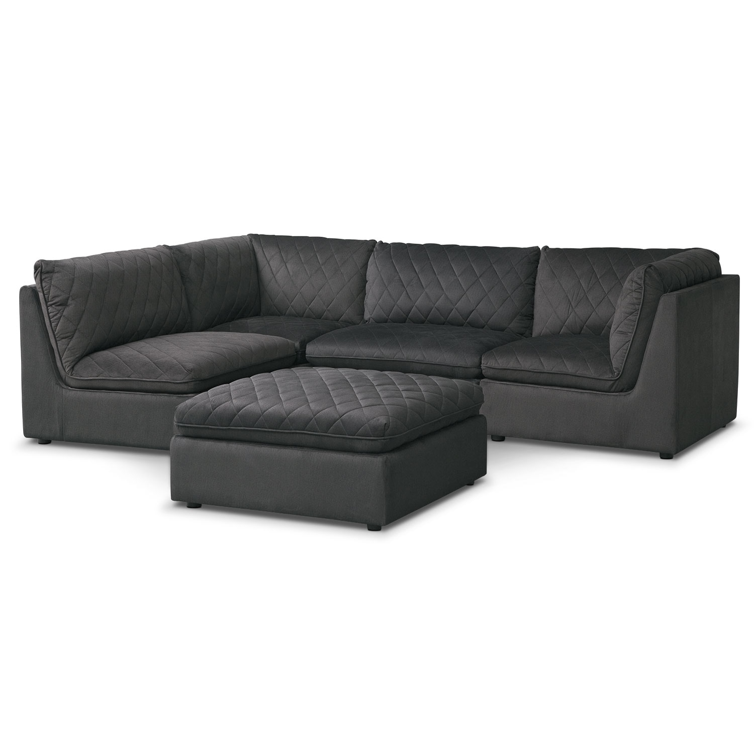 [Coco Charcoal 4-Piece Sectional with Cocktail Ottoman]