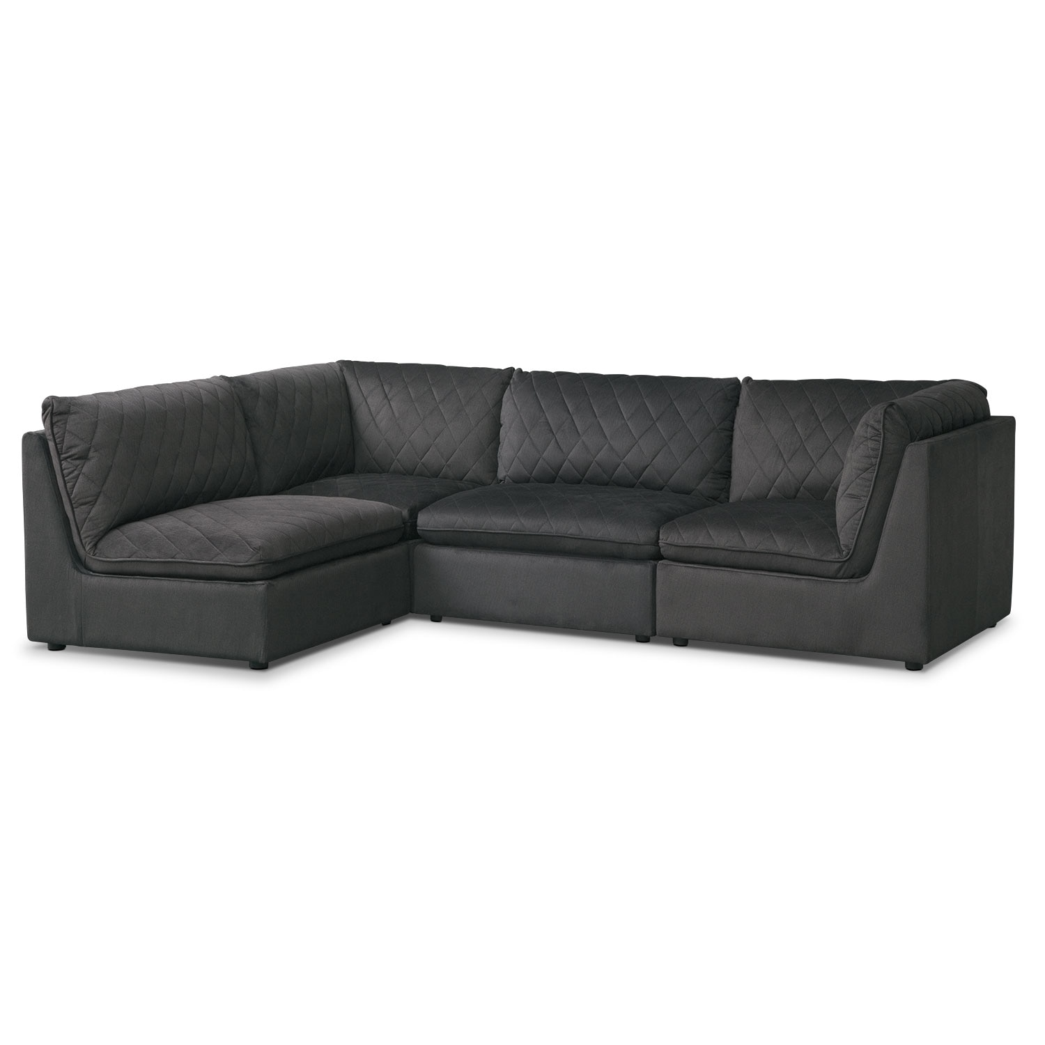 Living Room Furniture - Coco Charcoal 4 Pc. Sectional