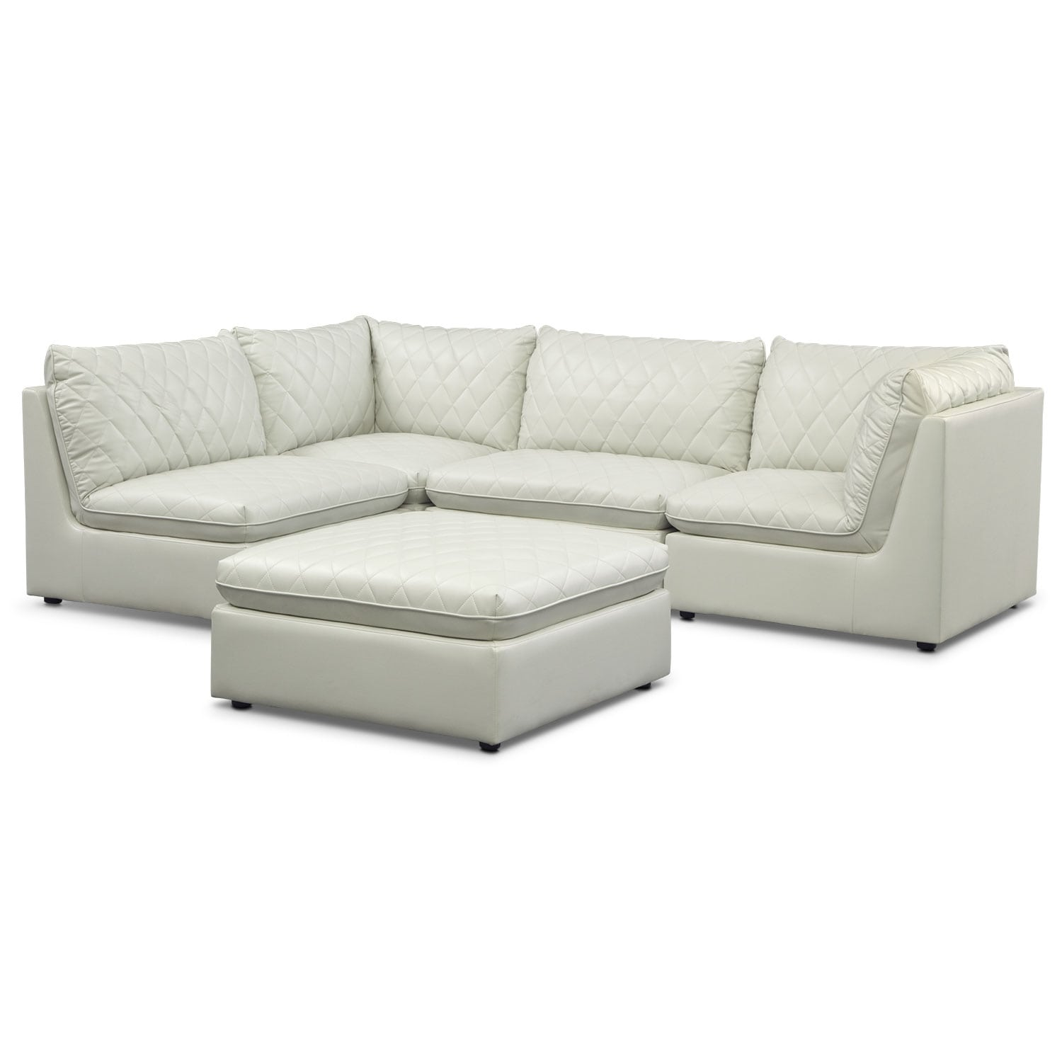 Living Room Furniture - Coco 4-Piece Sectional and Cocktail Ottoman Set - Mist