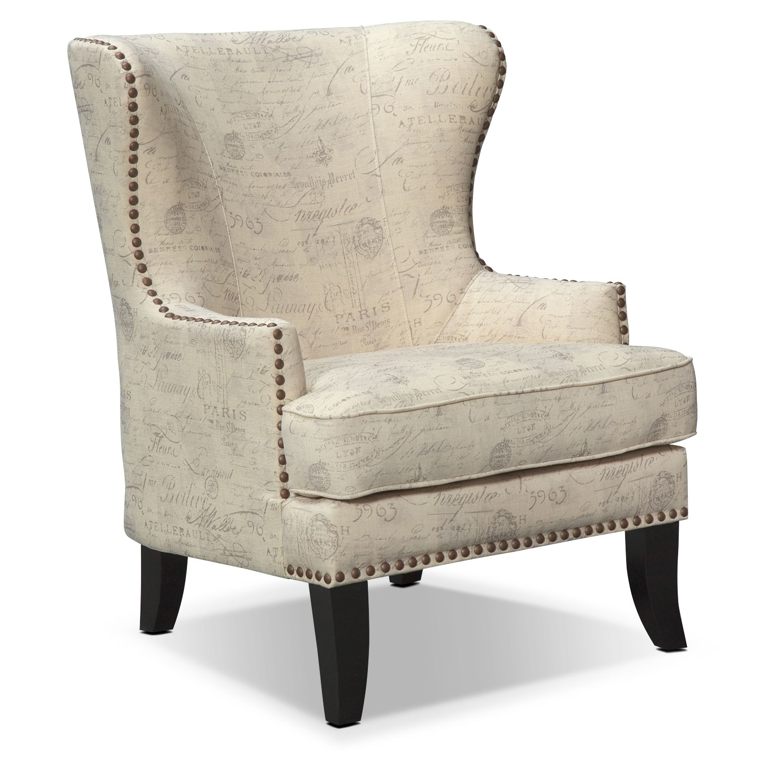 Marseille Accent Chair - Cream and Black - Living Room Chairs & Chaises Value City Furniture Value City