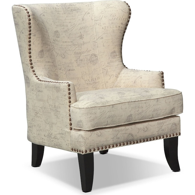 Living Room Furniture - Marseille Accent Chair - Cream and Black