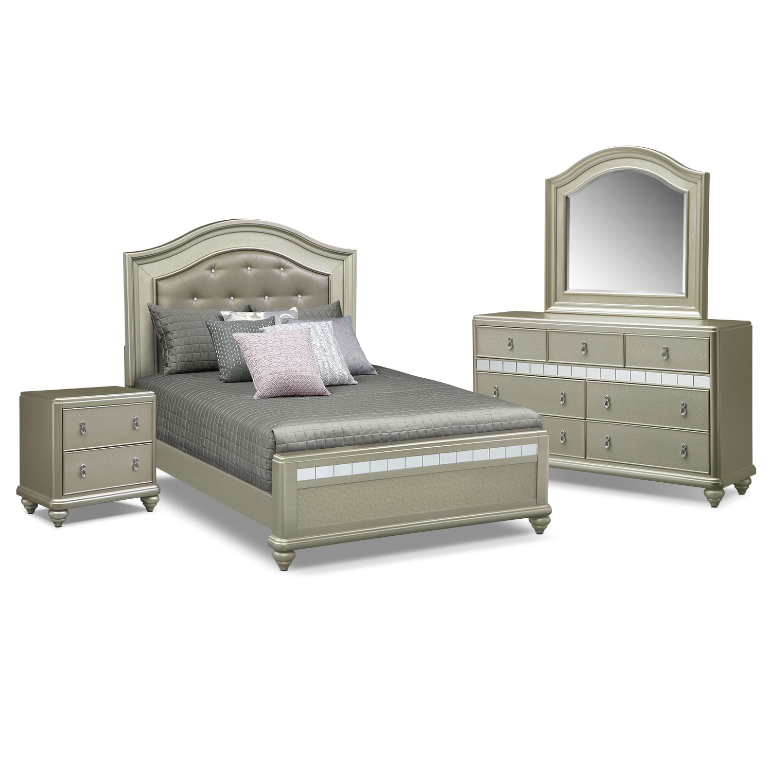 Serena Queen 6-Piece Bedroom Set- Platinum