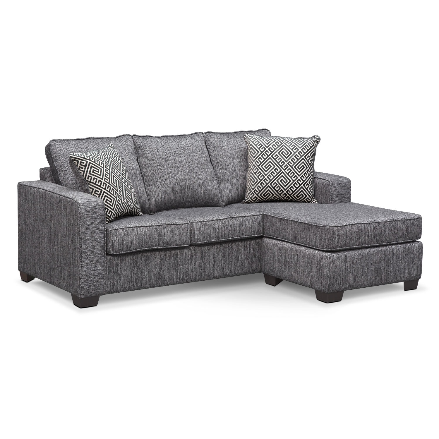 Living Room Furniture - Sterling Charcoal Queen Memory Foam Sleeper Sofa w/ Chaise