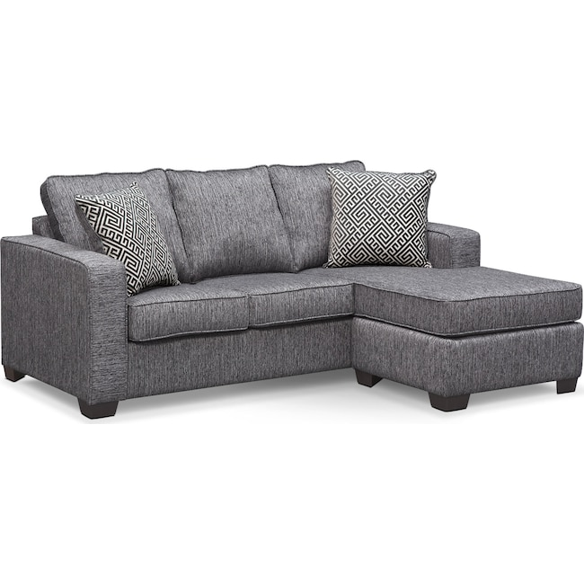 Living Room Furniture - Sterling Memory Foam Sleeper Sofa with Chaise - Charcoal