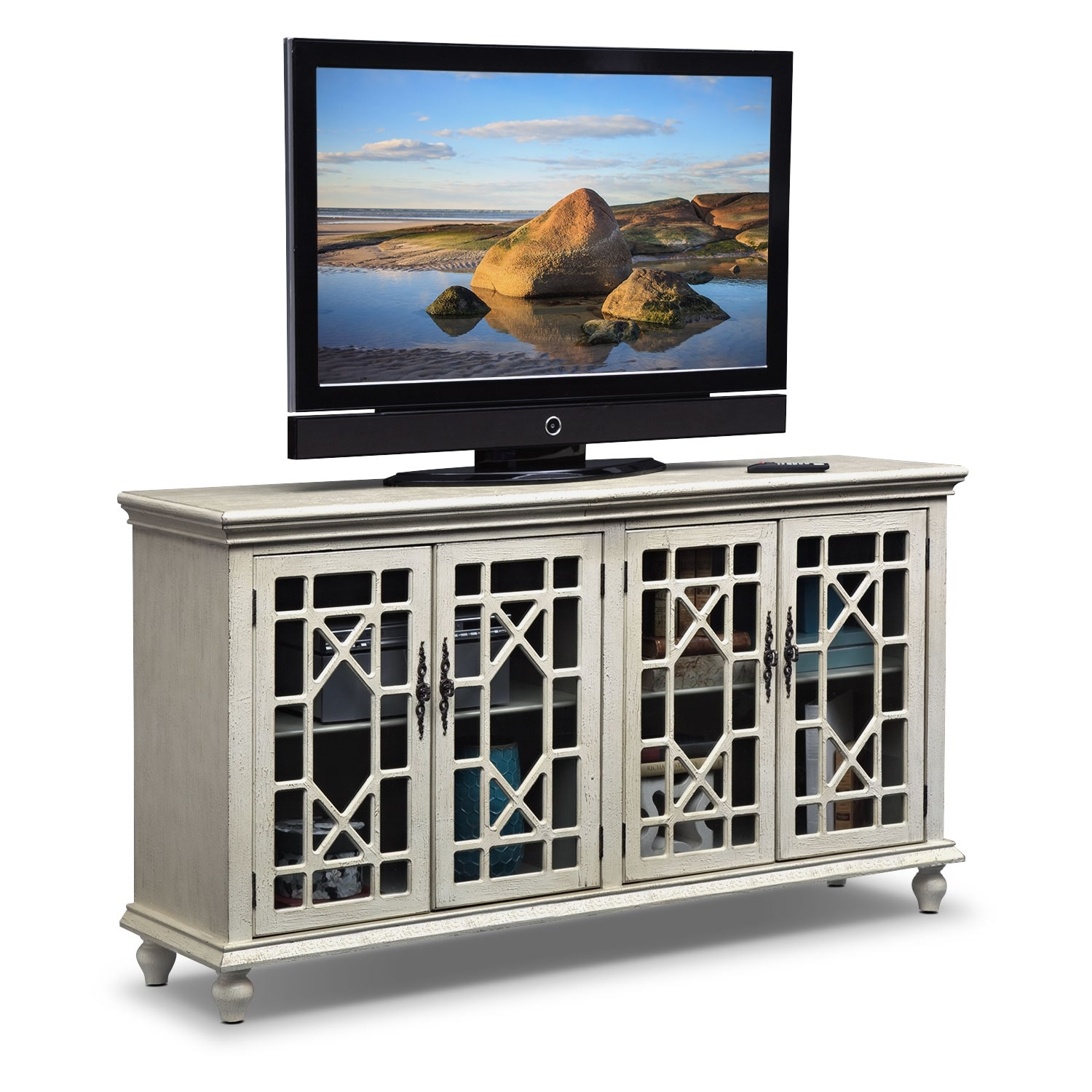 Grenoble Media Credenza Ivory Value City Furniture And Mattresses
