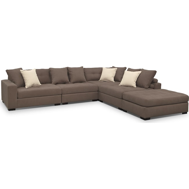 Living Room Furniture - Venti 5-Piece Sectional and Cocktail Ottoman Set