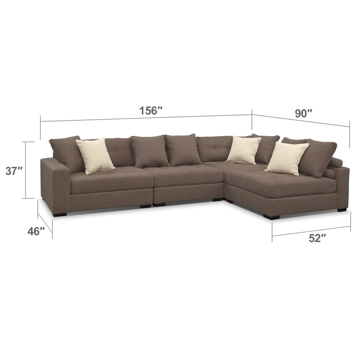 Living Room Furniture - Venti Mocha 4 Pc. Sectional