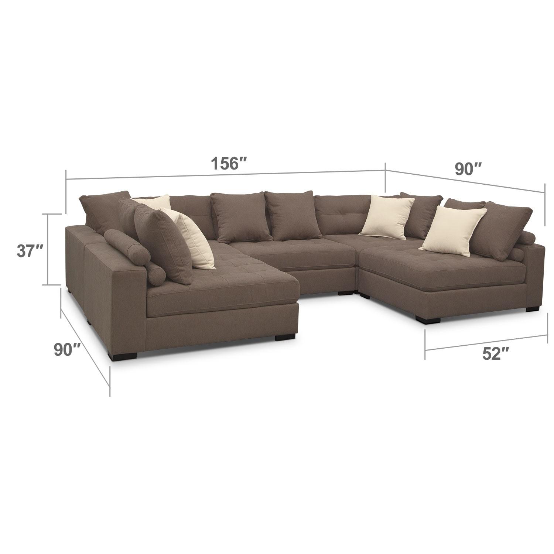 Living Room Furniture - Venti Mocha 5 Pc. Sectional