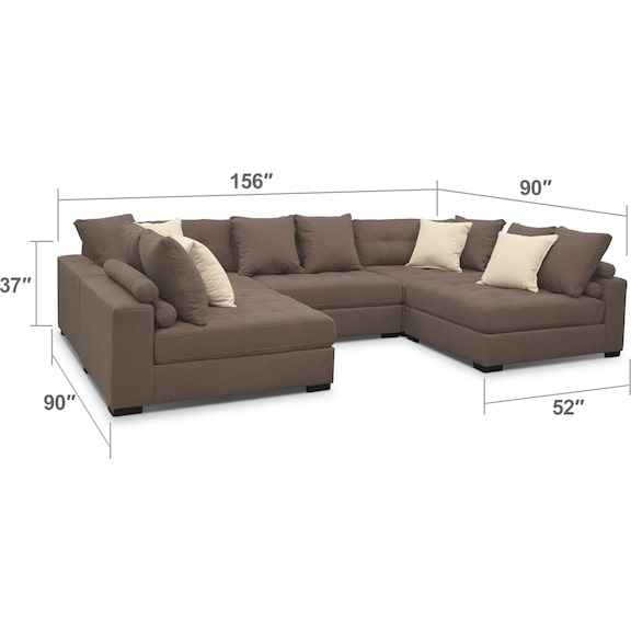Living Room Furniture - Venti 5-Piece Sectional - Mocha