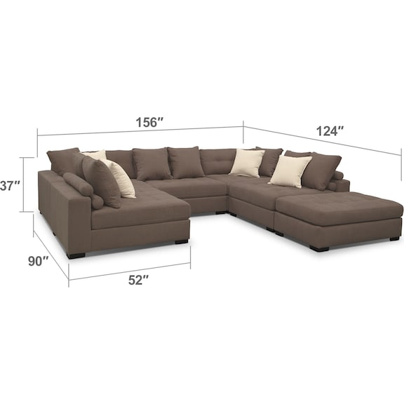 Living Room Furniture - Venti 5-Piece Sectional with Ottoman