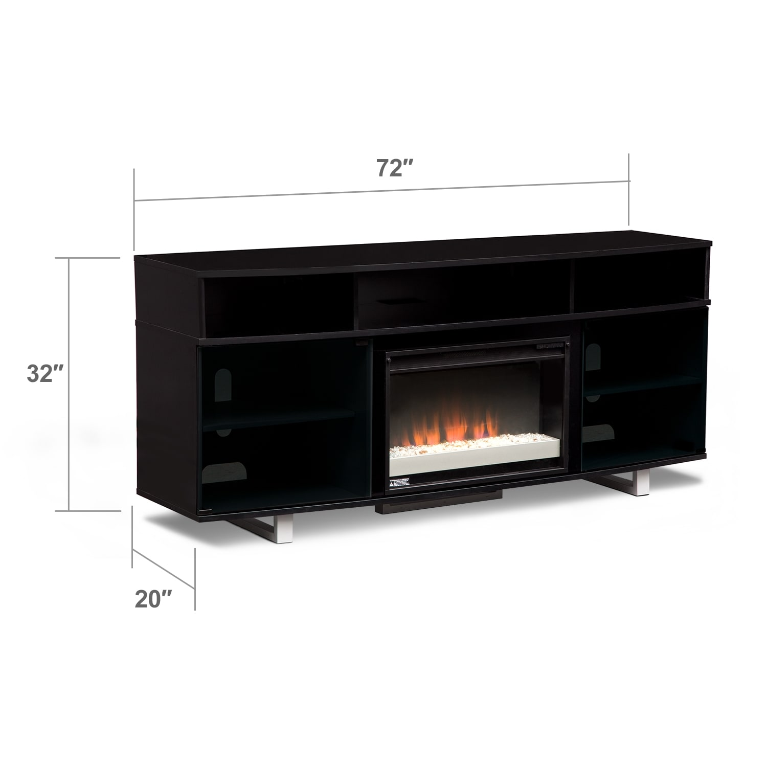 pacer 72 contemporary fireplace tv stand black value