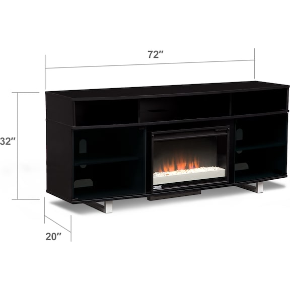"Entertainment Furniture - Pacer 72"" Contemporary Fireplace TV Stand - Black"