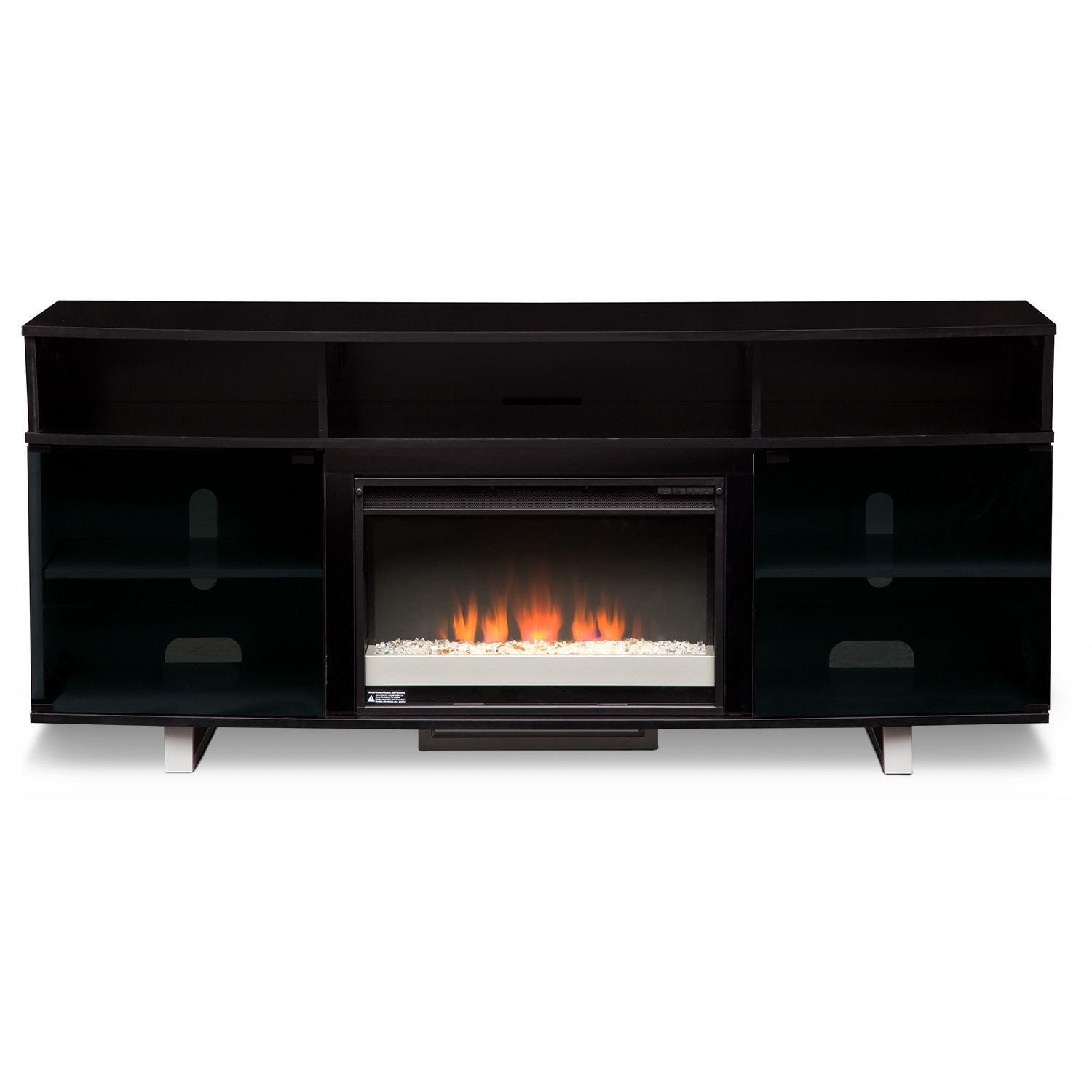 """Pacer 72"""" Contemporary Fireplace TV Stand Black"""