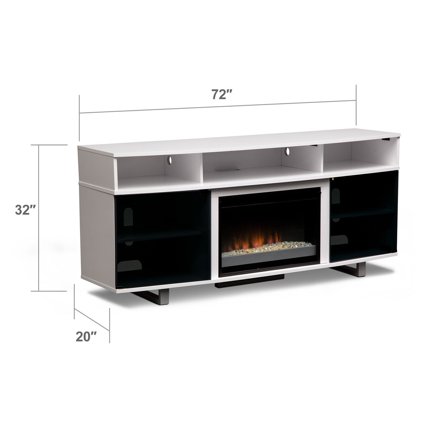 """Entertainment Furniture - Pacer 72"""" Contemporary Fireplace TV Stand - White"""