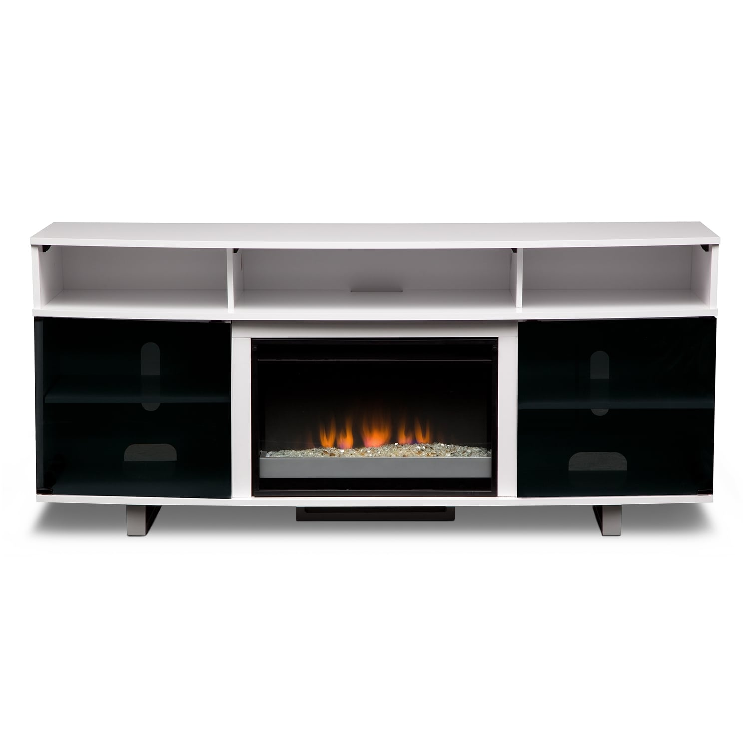 pacer  contemporary fireplace tv stand  white  value city  - click to change image