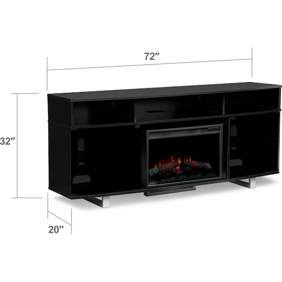 """Entertainment Furniture - Pacer 72"""" Traditional Fireplace TV Stand - Black"""