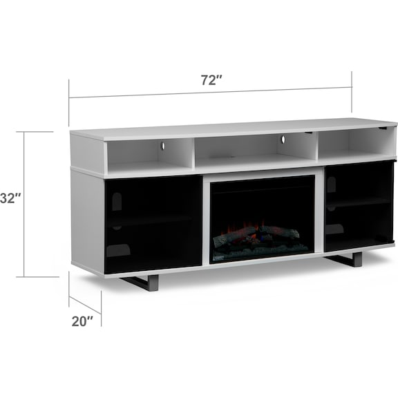 "Entertainment Furniture - Pacer 72"" Traditional Fireplace TV Stand - White"