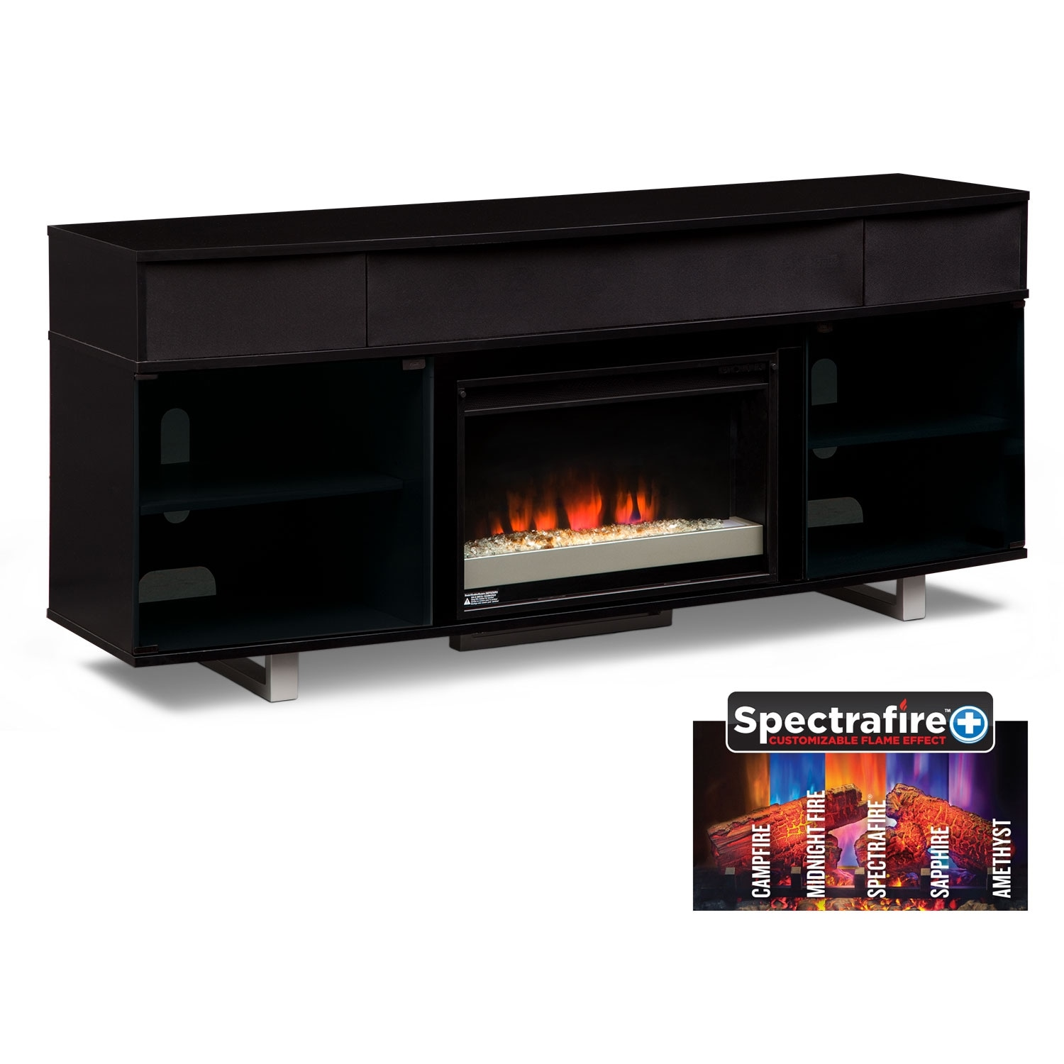 Pacer 72 Quot Contemporary Fireplace Tv Stand With Sound Bar