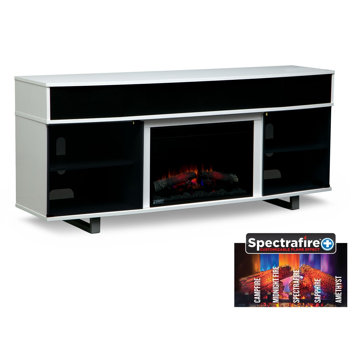 "Pacer 72"" Traditional Fireplace TV Stand with Sound Bar - White"