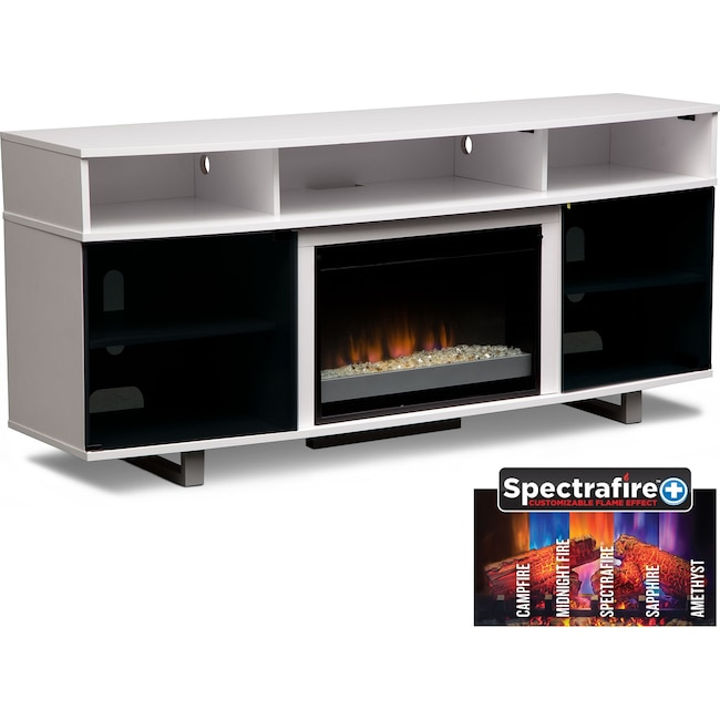 "Entertainment Furniture - Pacer 72"" Contemporary Fireplace TV Stand - White"