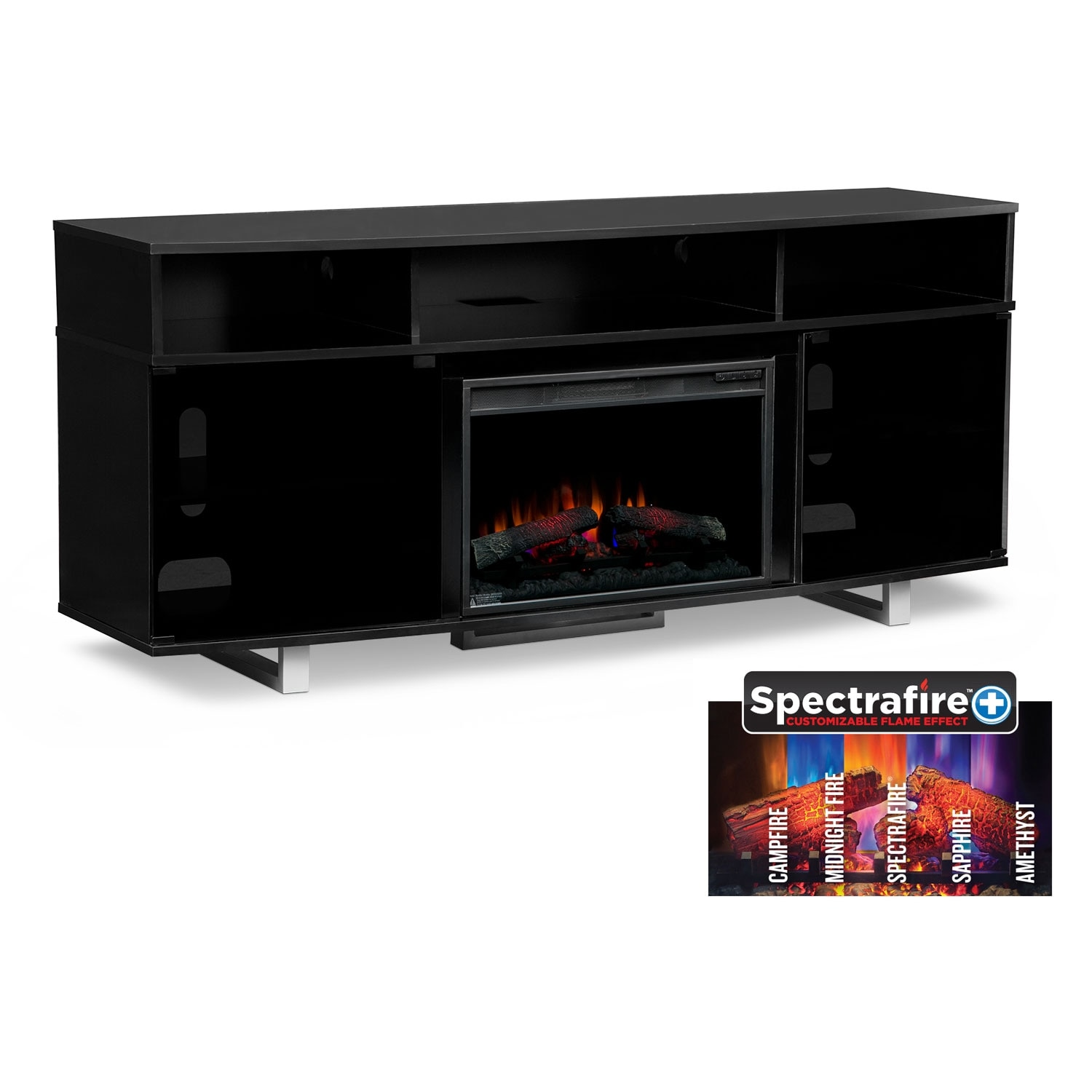 Pacer 72  Traditional Fireplace TV Stand   Black. T V Stands   Media Centers   Value City Furniture