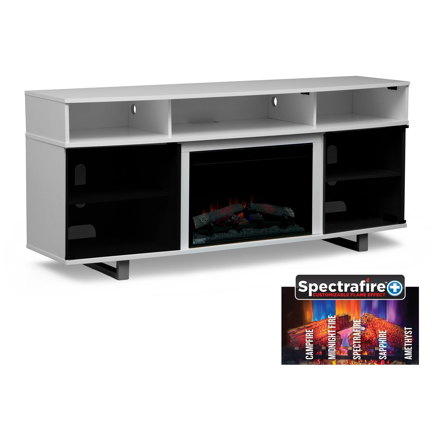 """Pacer 72"""" Traditional Fireplace TV Stand - White"""