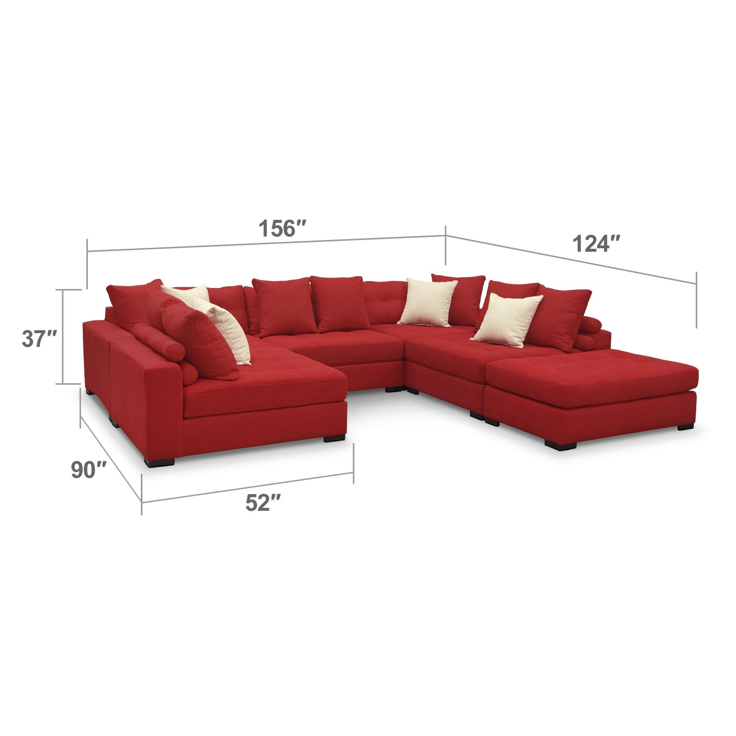 Living Room Furniture - Venti 6-Piece Sectional - Red
