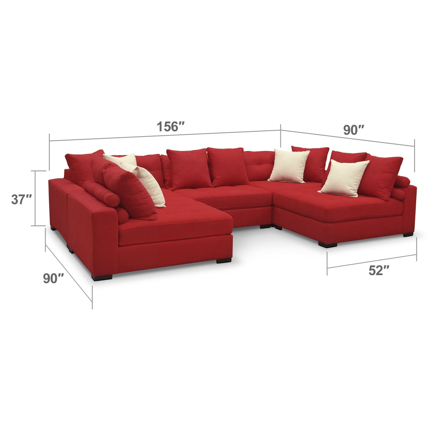 Living Room Furniture - Venti Red 5 Pc. Sectional